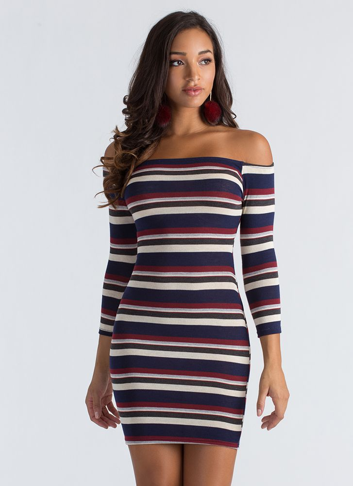 Just Striped Off-Shoulder Knit Dress NAVY