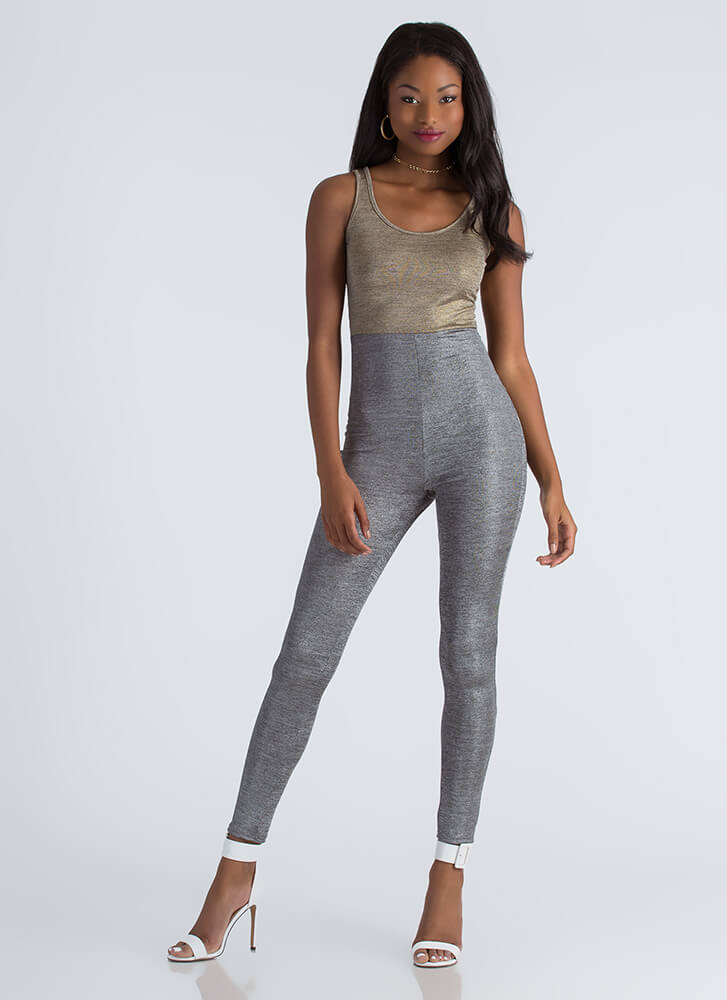 Two Good To Be True Shimmery Jumpsuit GOLDSILVER