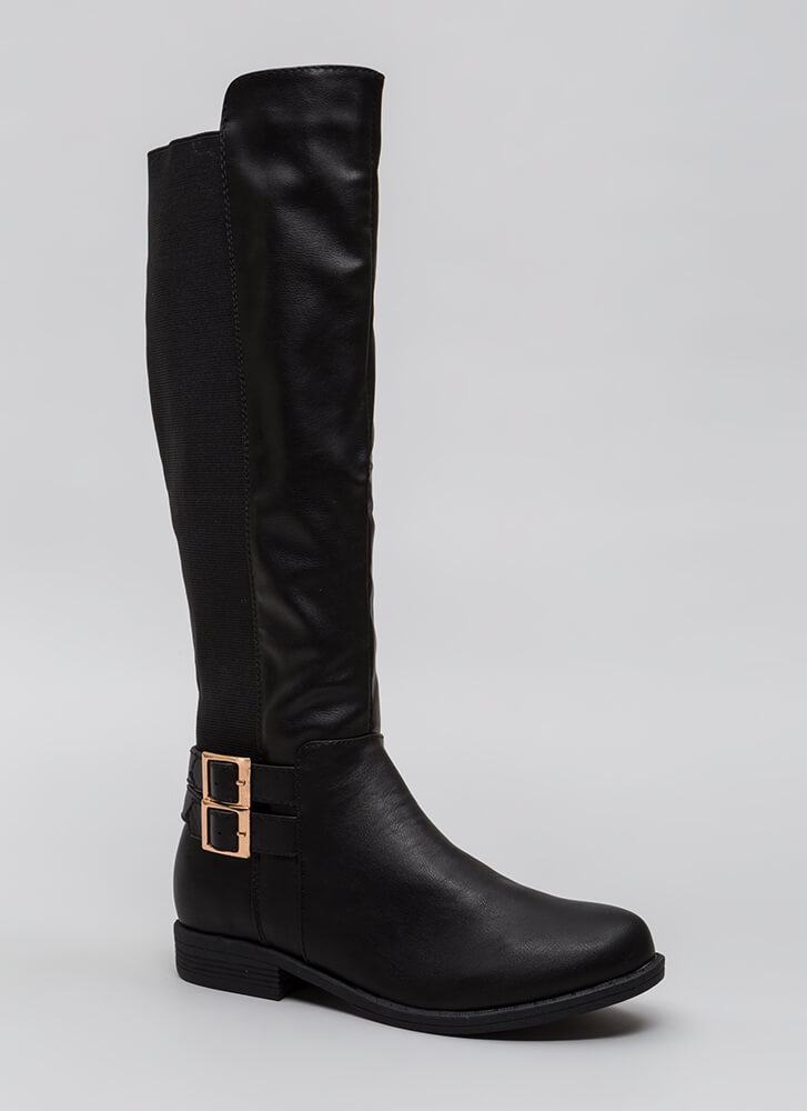 Get Strappy Stretchy Back Riding Boots BLACK