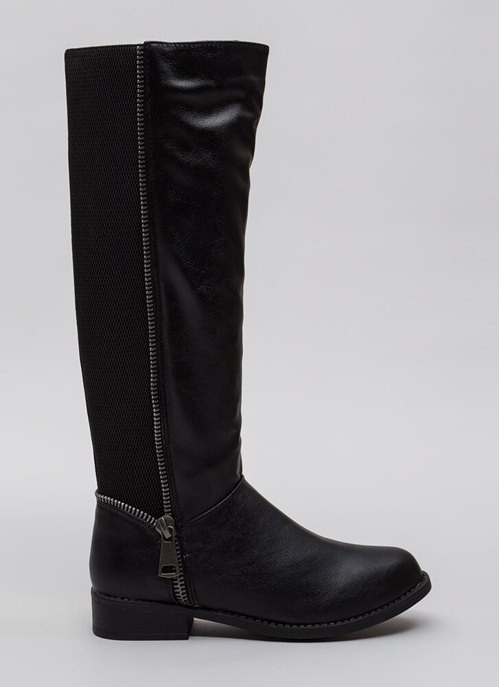 Toothsome Zipper Trim Knee-High Boots BLACK