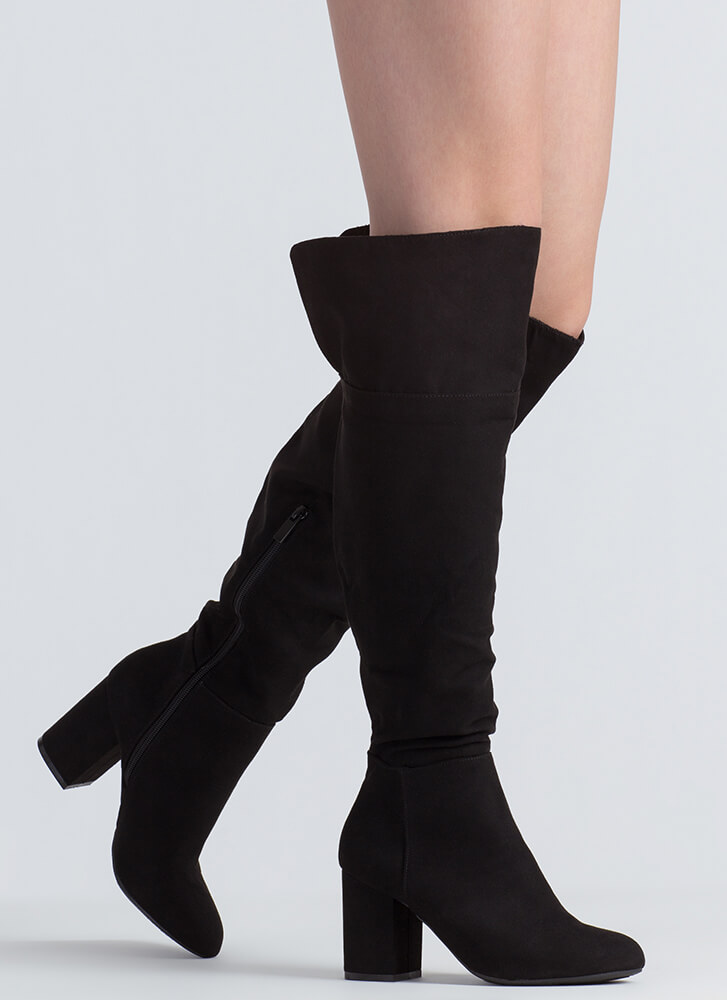 Keep It Chunky Over-The-Knee Boots BLACK