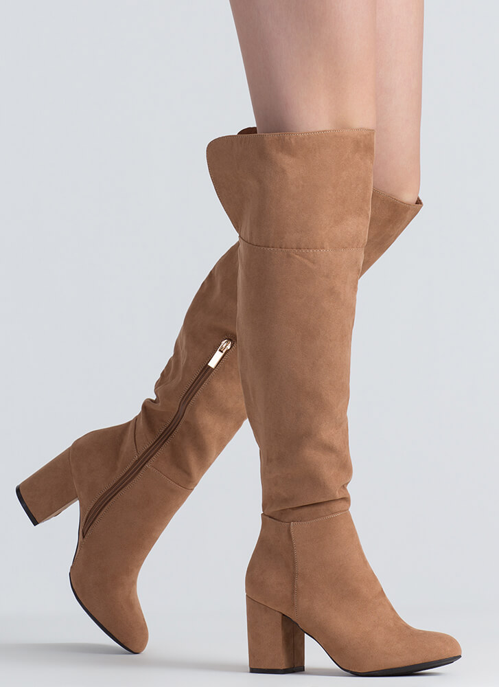 Keep It Chunky Over-The-Knee Boots CAMEL
