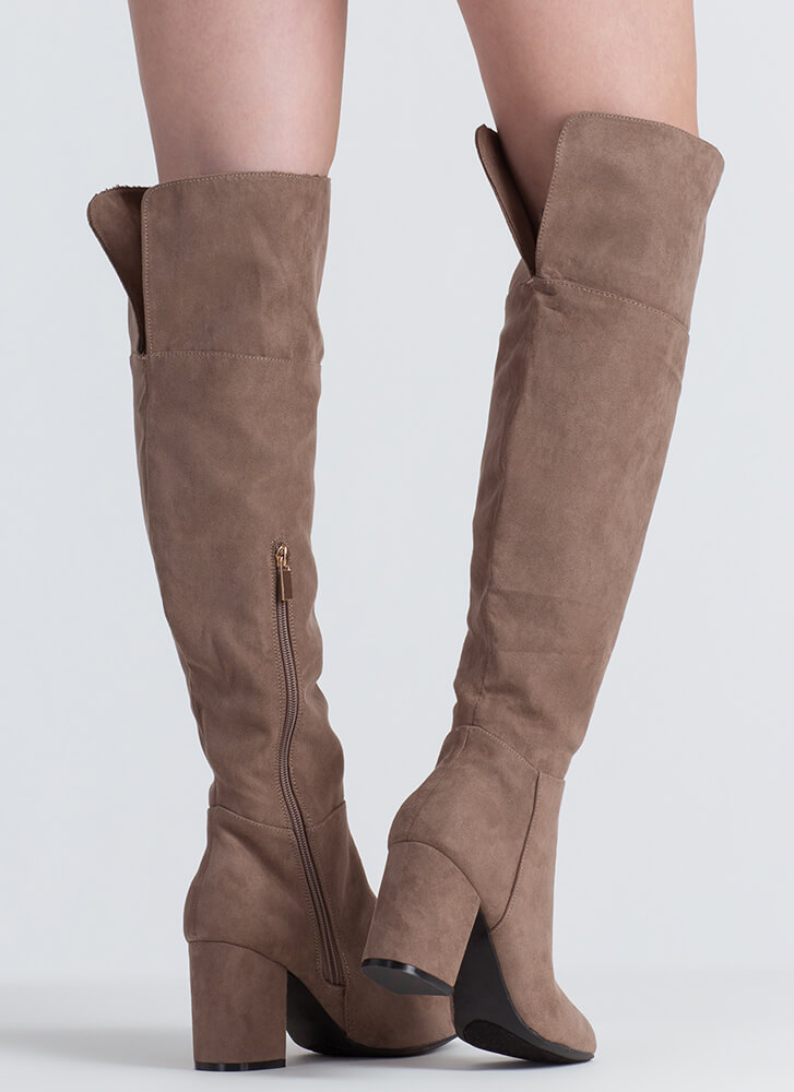 Keep It Chunky Over-The-Knee Boots TAUPE