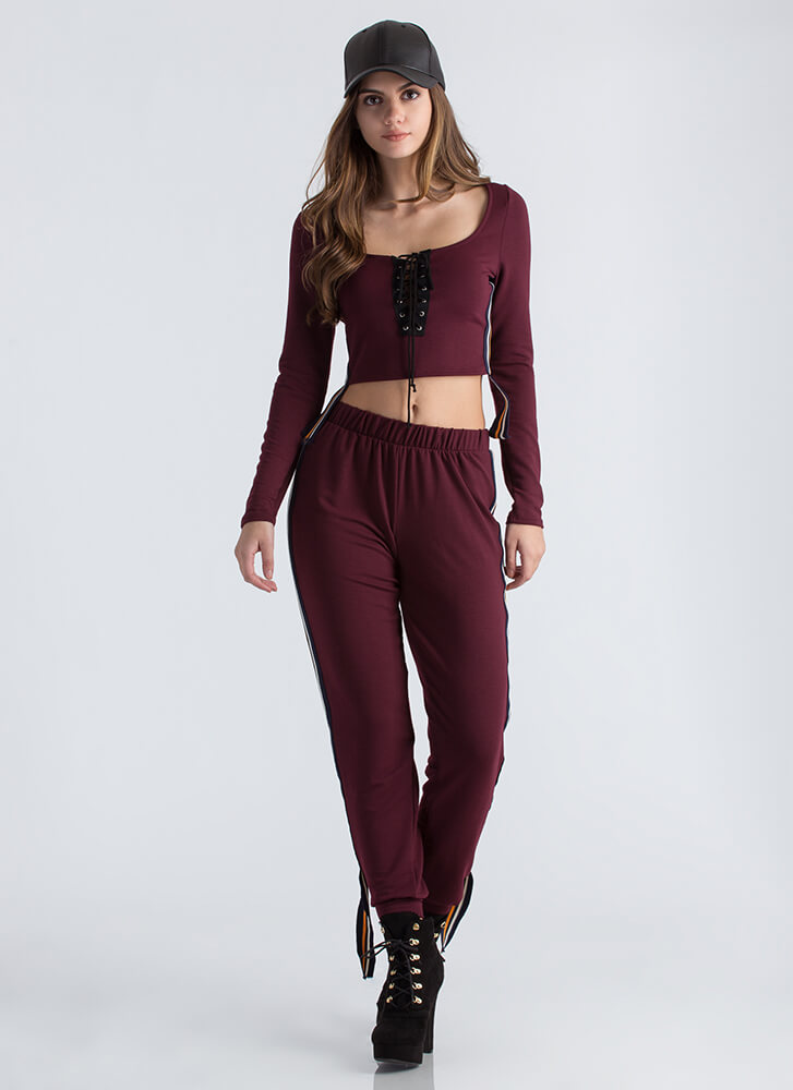 Past The Limit Striped Athleisure Set BURGUNDY