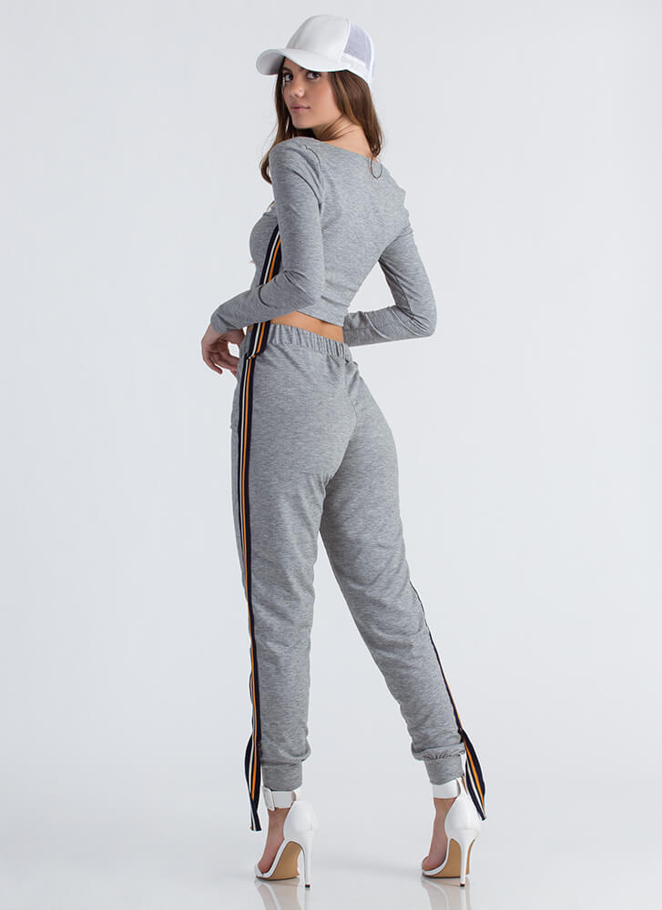 Past The Limit Striped Athleisure Set GREY (Final Sale)