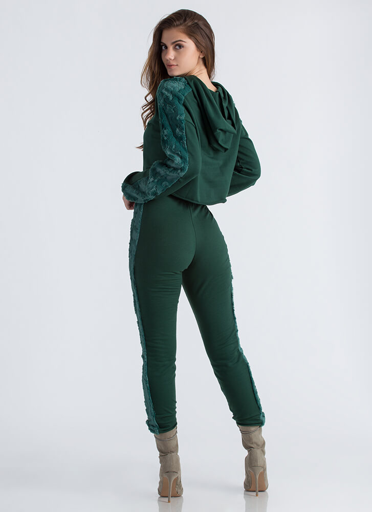 Fur Ever And Ever Hoodie And Jogger Set HUNTERGREEN