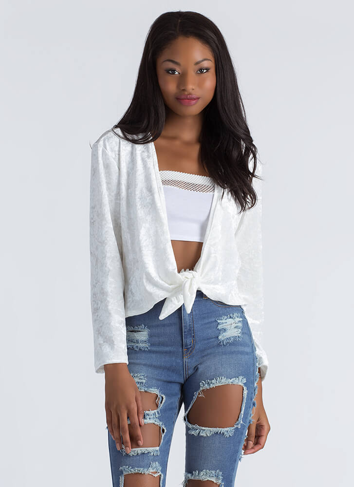 Knot So Fast Tied Crushed Velvet top IVORY