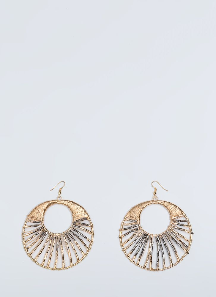 My Biggest Fan Beaded Cut-Out Earrings GOLD (You Saved $11)