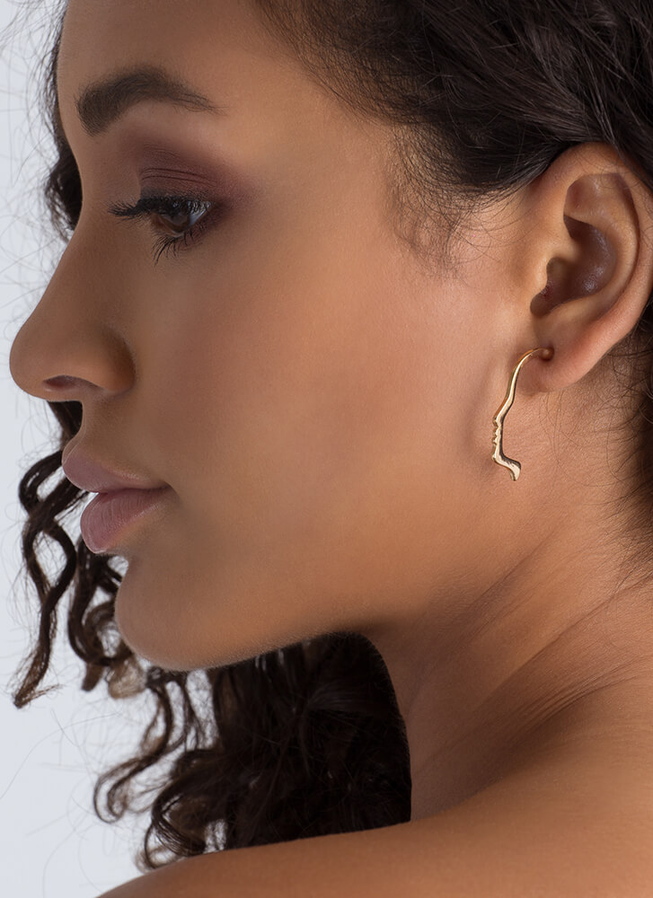 Profile Picture Face Outline Earrings GOLD