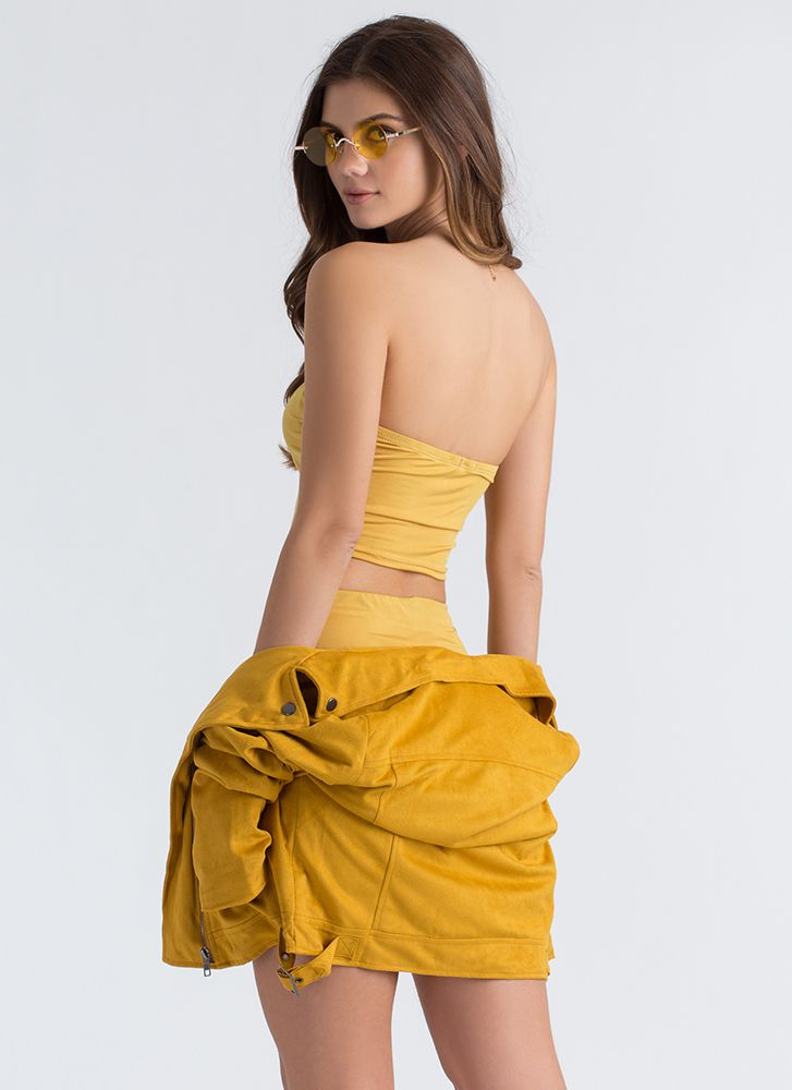 Ready Or Not Tube Top And Skirt Set MUSTARD