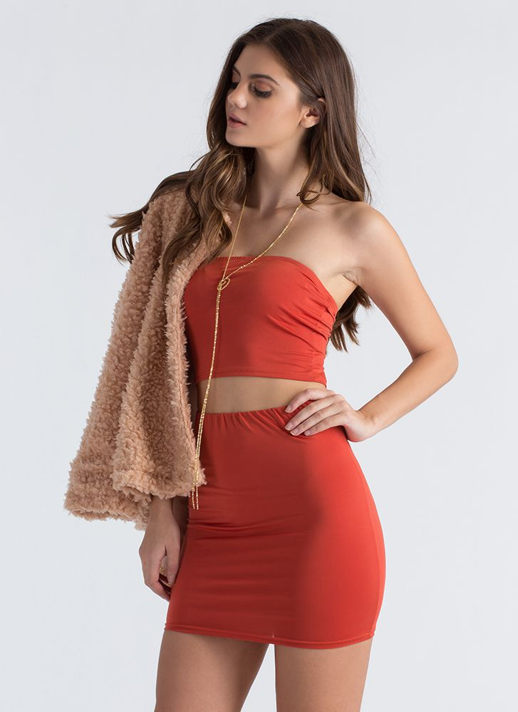 Ready Or Not Tube Top And Skirt Set ORANGE
