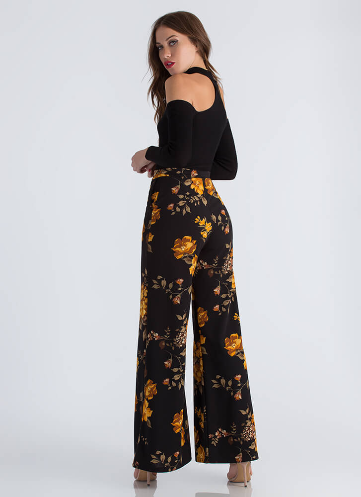 Girl In The Garden Floral Palazzo Pants MUSTARD