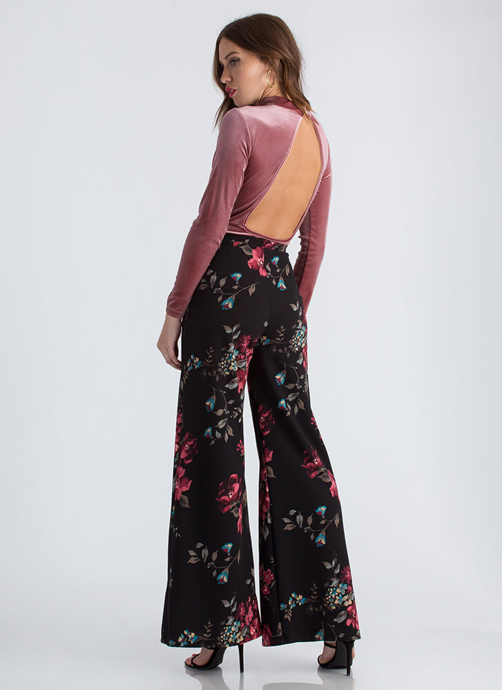 Girl In The Garden Floral Palazzo Pants WINE
