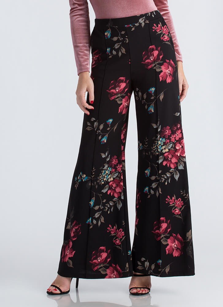 Girl In The Garden Floral Palazzo Pants WINE (Final Sale)