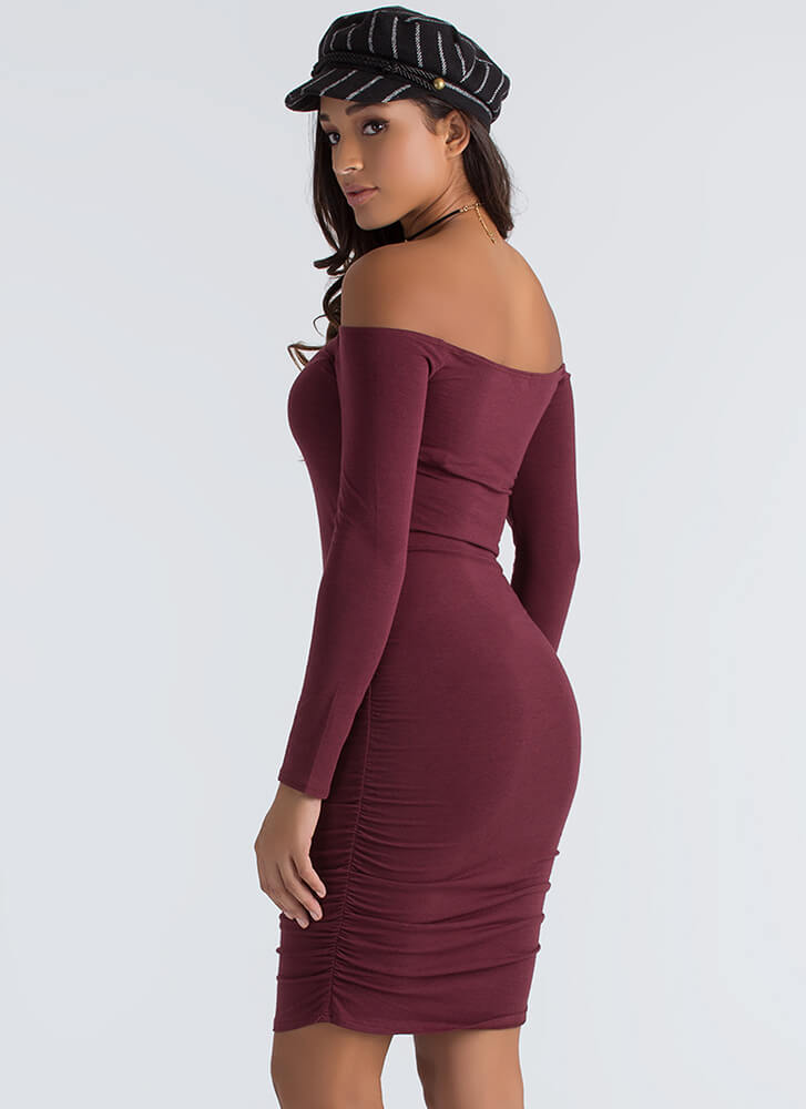 Ruched Into Things Off-Shoulder Dress MERLOT