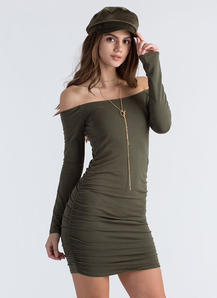 Ruched Into Things Off-Shoulder Dress OLIVE