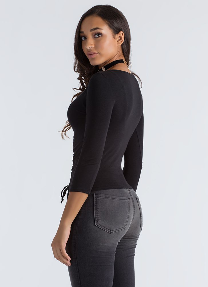 Ruched Into Things Drawstring Top BLACK
