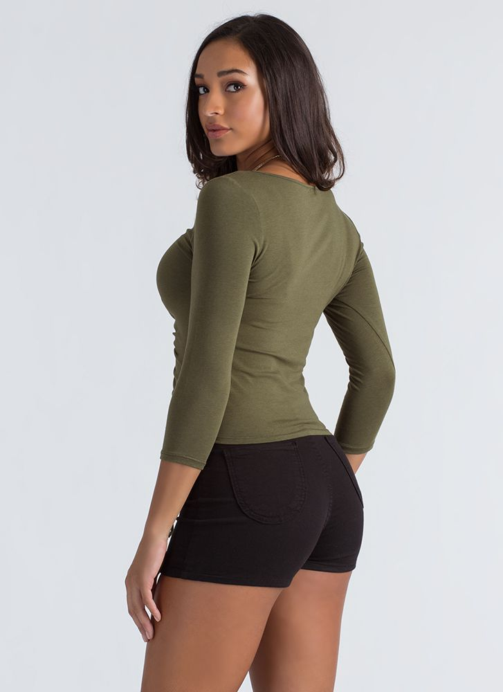 Ruched Into Things Drawstring Top OLIVE