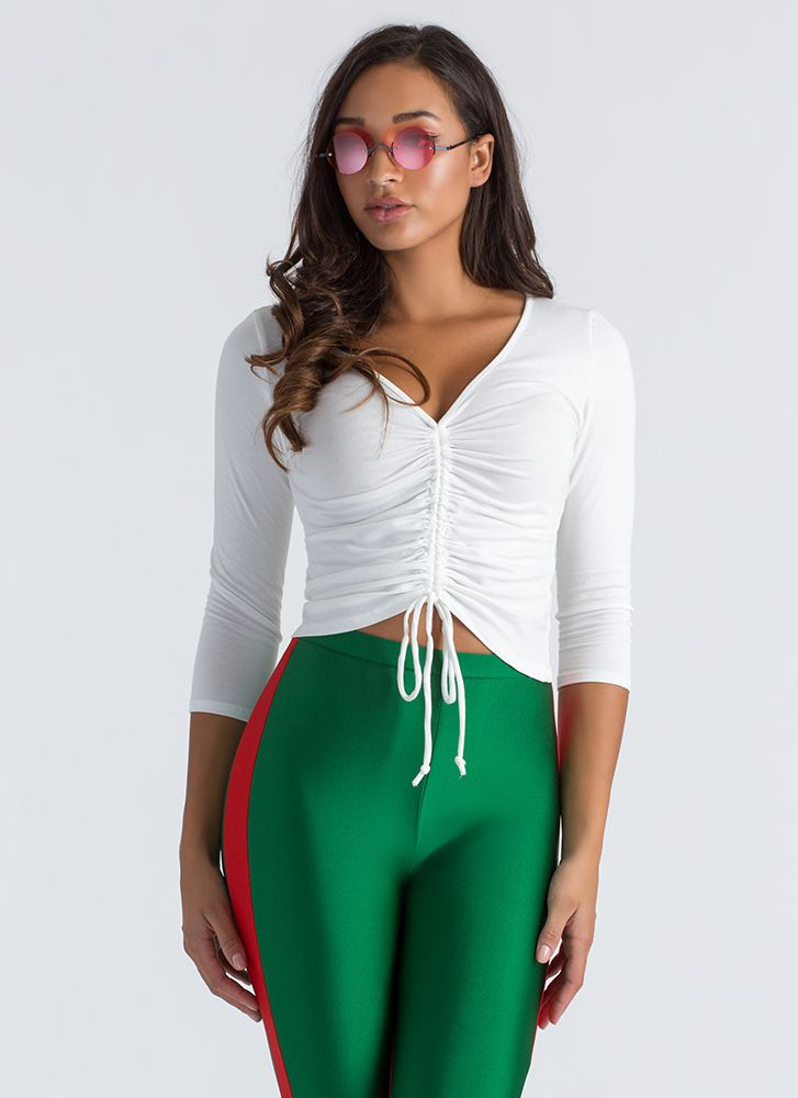 Ruched Into Things Drawstring Top WHITE