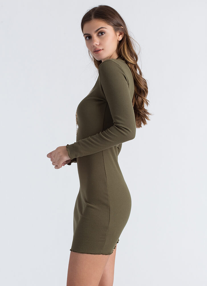What A Frill Ribbed High-Neck Midi Dress OLIVE