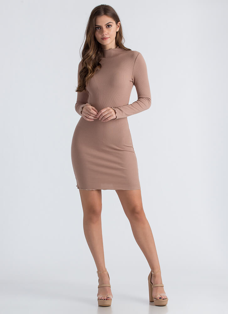 What A Frill Ribbed High-Neck Midi Dress TAUPE