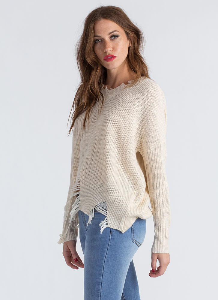 Take A Bite Distressed Knit Sweater IVORY