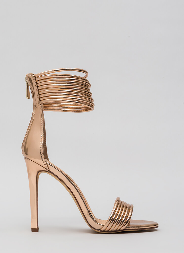 Stacked High Strappy Ankle Cuff Heels ROSEGOLD