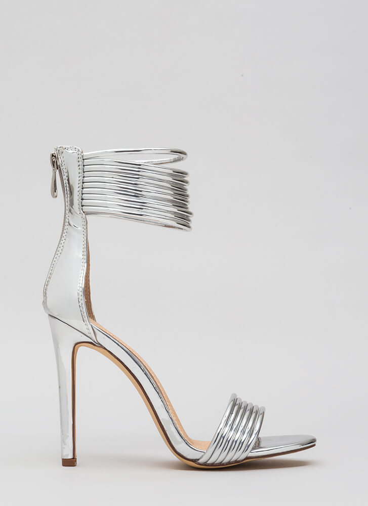 Stacked High Strappy Ankle Cuff Heels SILVER