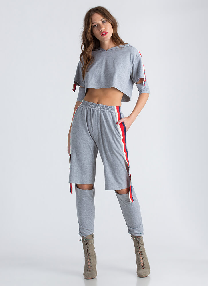 Cool Girl Striped Hoodie And Jogger Set GREY