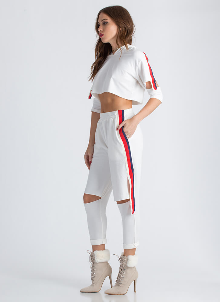 Cool Girl Striped Hoodie And Jogger Set WHITE