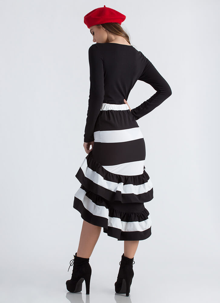 Party Dress Ruffled Striped Skirt BLACKWHITE