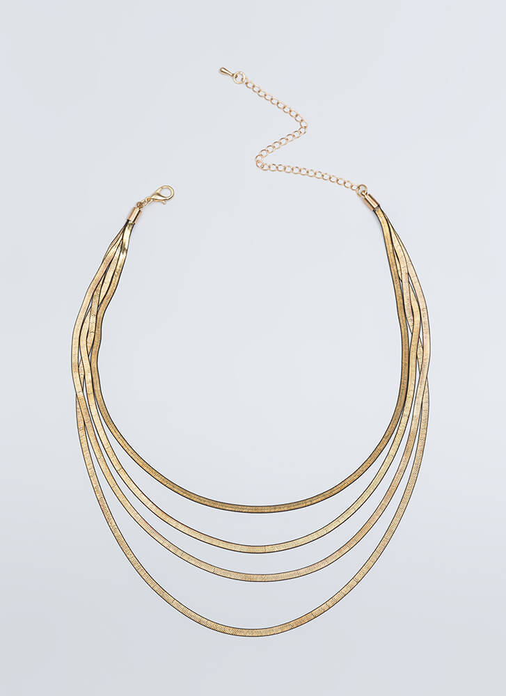 Four Good Layered Snake Chain Necklace GOLD