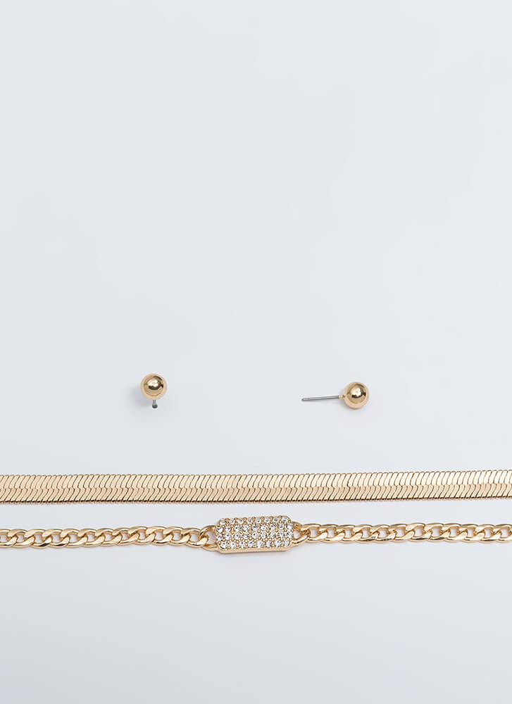 Two For One Chain Necklace Set GOLD