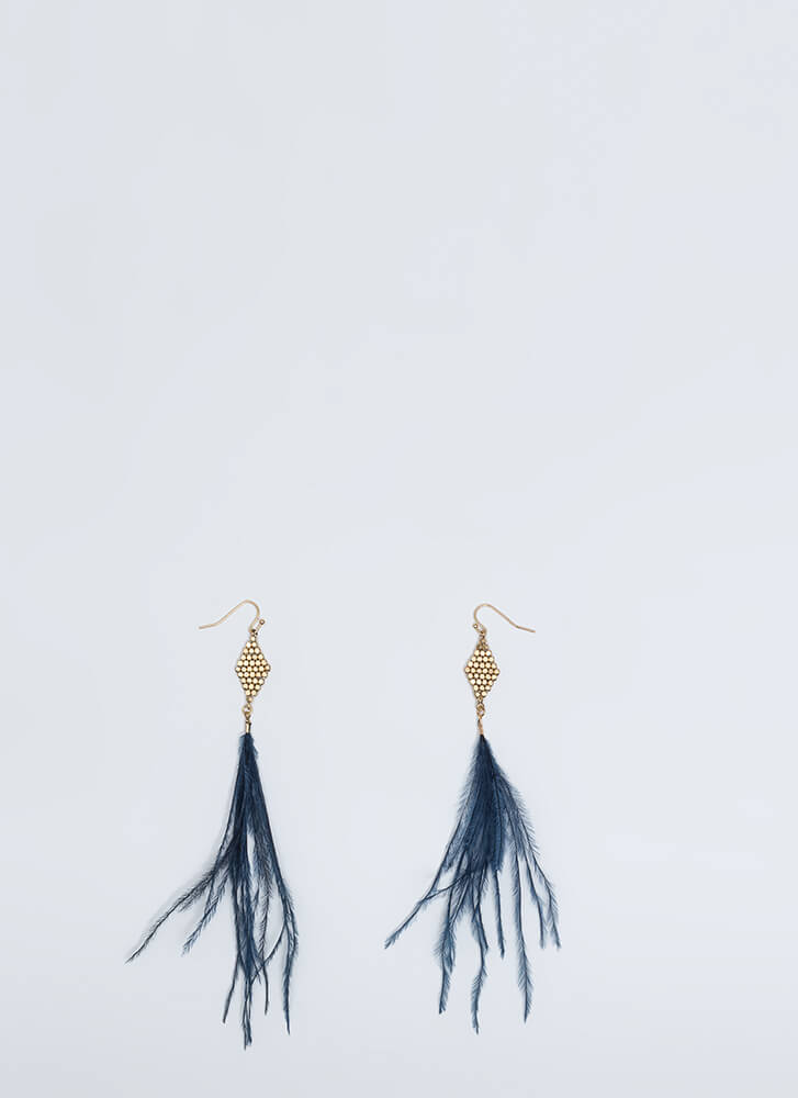 Feather Weather Dangling Earrings BLUE (You Saved $8)