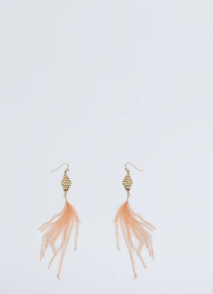 Feather Weather Dangling Earrings PEACH