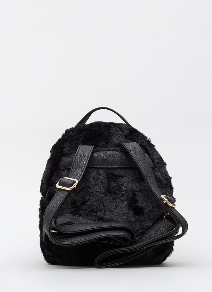 Stuffed Animal Faux Fur Mini Backpack BLACK