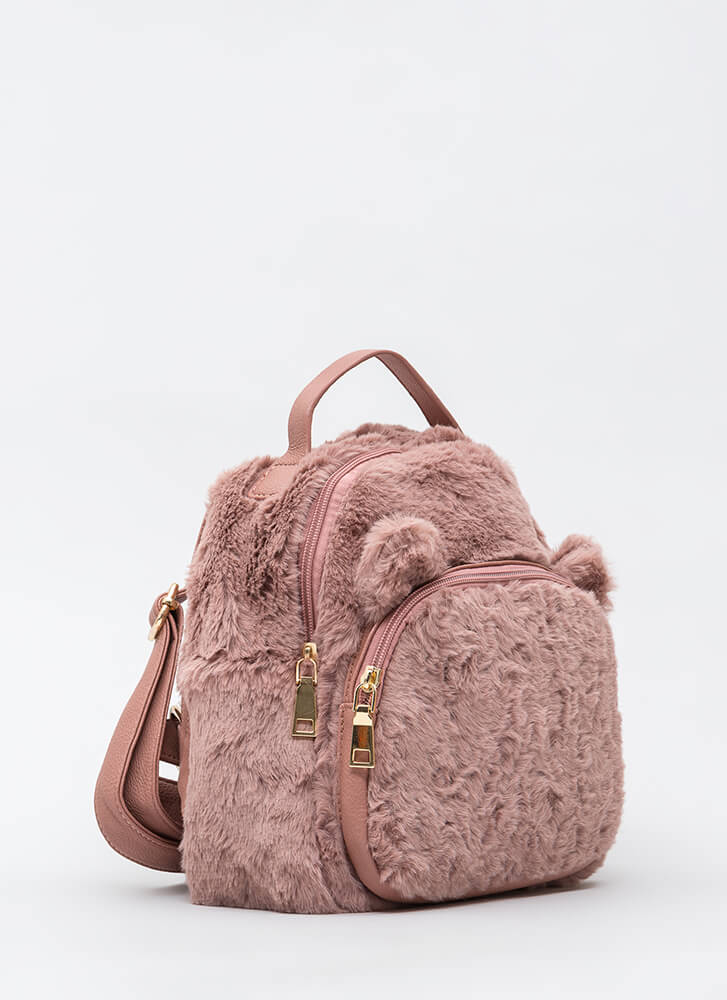 Stuffed Animal Faux Fur Mini Backpack MAUVE