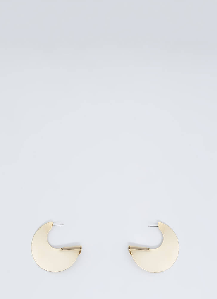 Horn In Curled Disc Earrings GOLD
