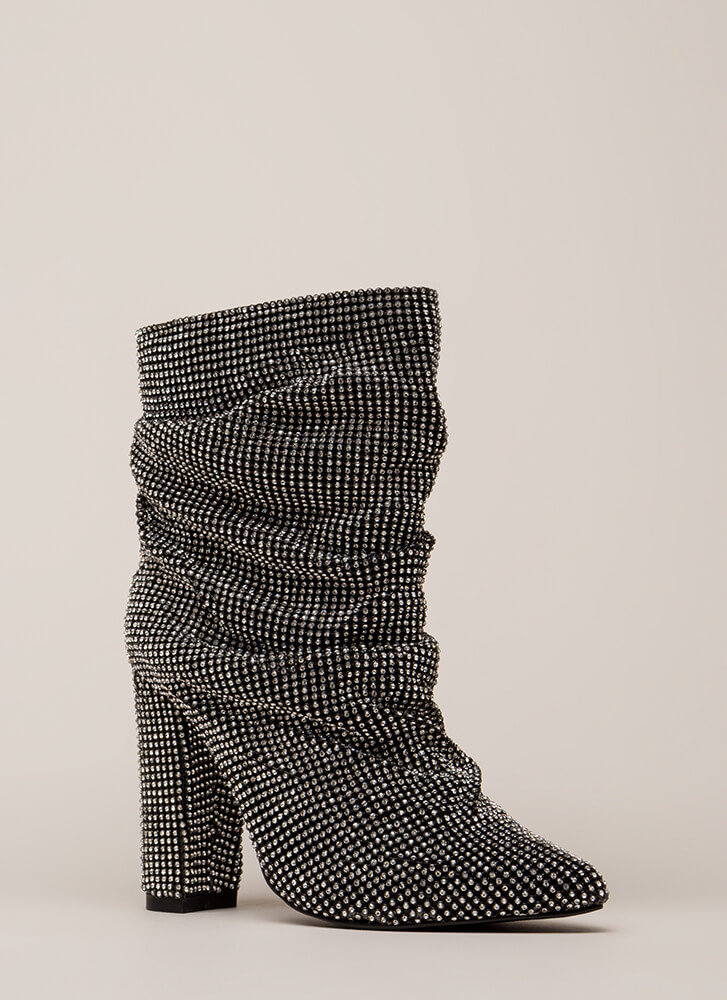 Blinding Slouchy Jeweled Chunky Booties BLACK