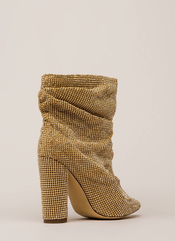 Blinding Slouchy Jeweled Chunky Booties GOLD