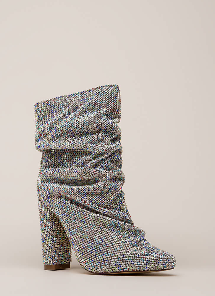 Blinding Slouchy Jeweled Chunky Booties MULTI