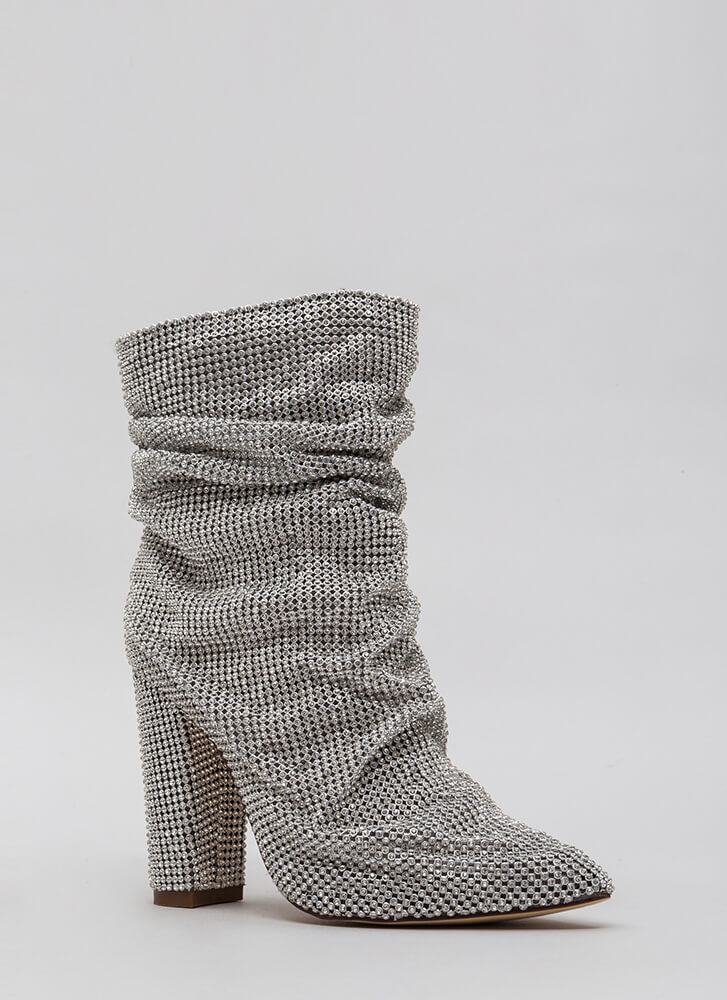 Blinding Slouchy Jeweled Chunky Booties SILVER