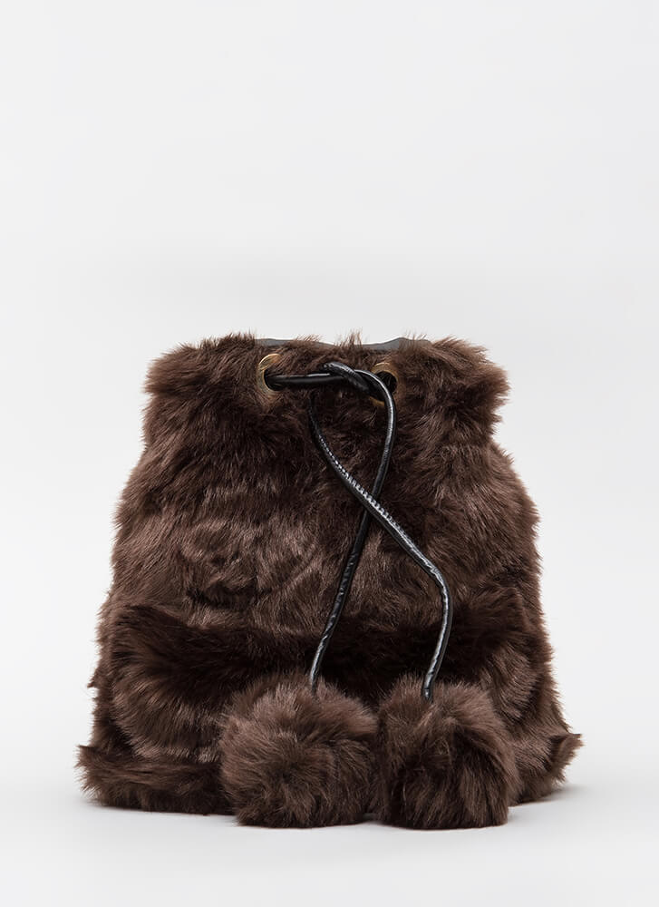 Shaggy Chic Faux Fur Bucket Bag BROWN