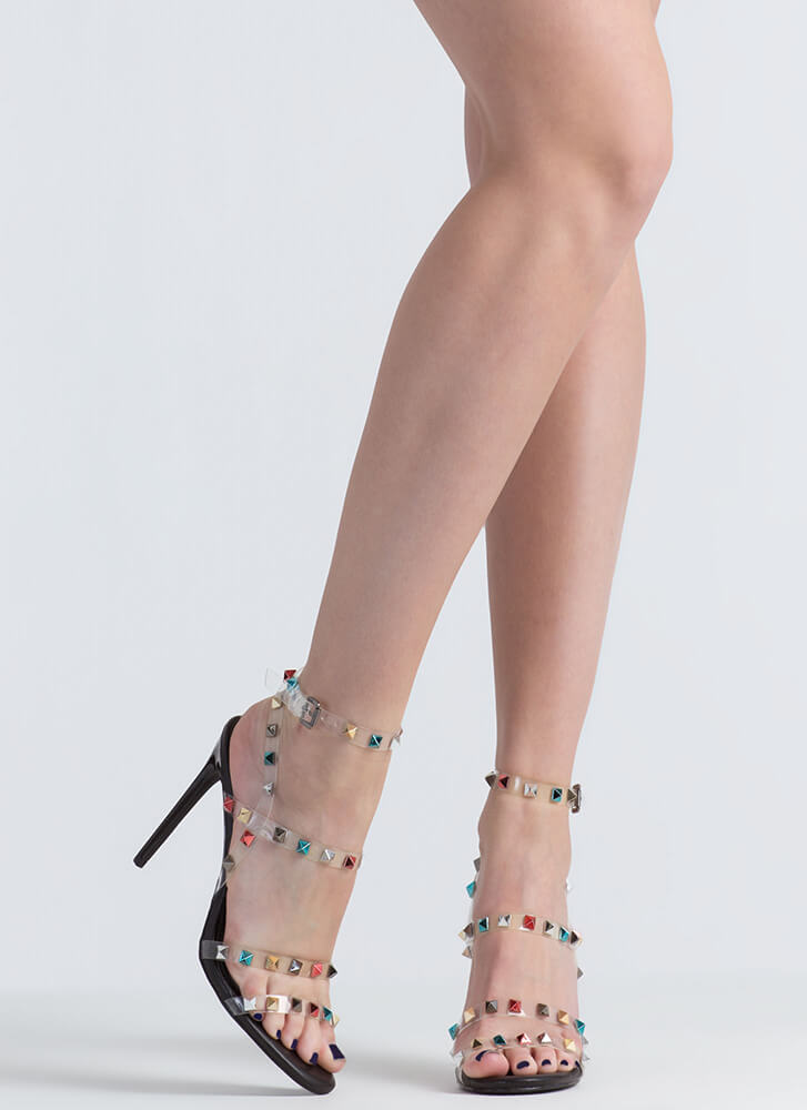 So Clearly Studded Strappy Heels BLACK