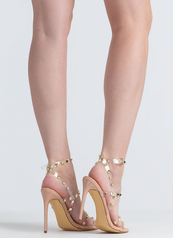 So Clearly Studded Strappy Heels NUDE