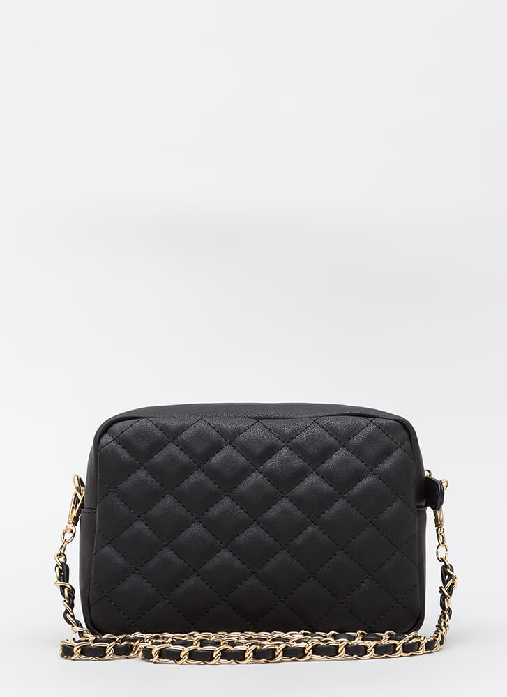 Stitch Please Quilted Chain Strap Bag BLACK