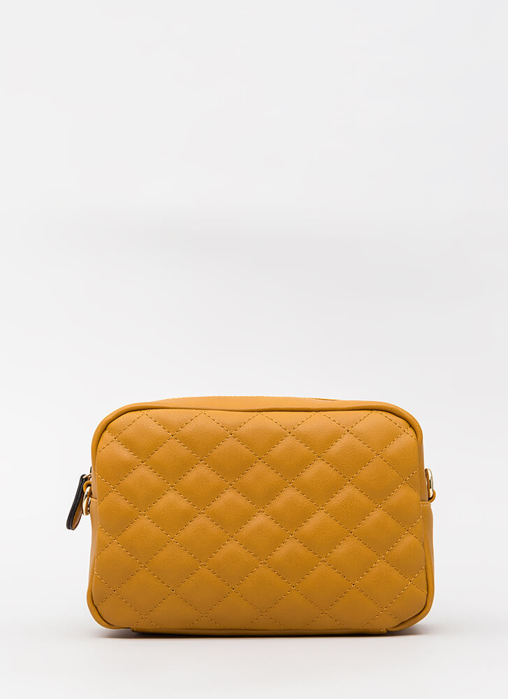 Stitch Please Quilted Chain Strap Bag MUSTARD