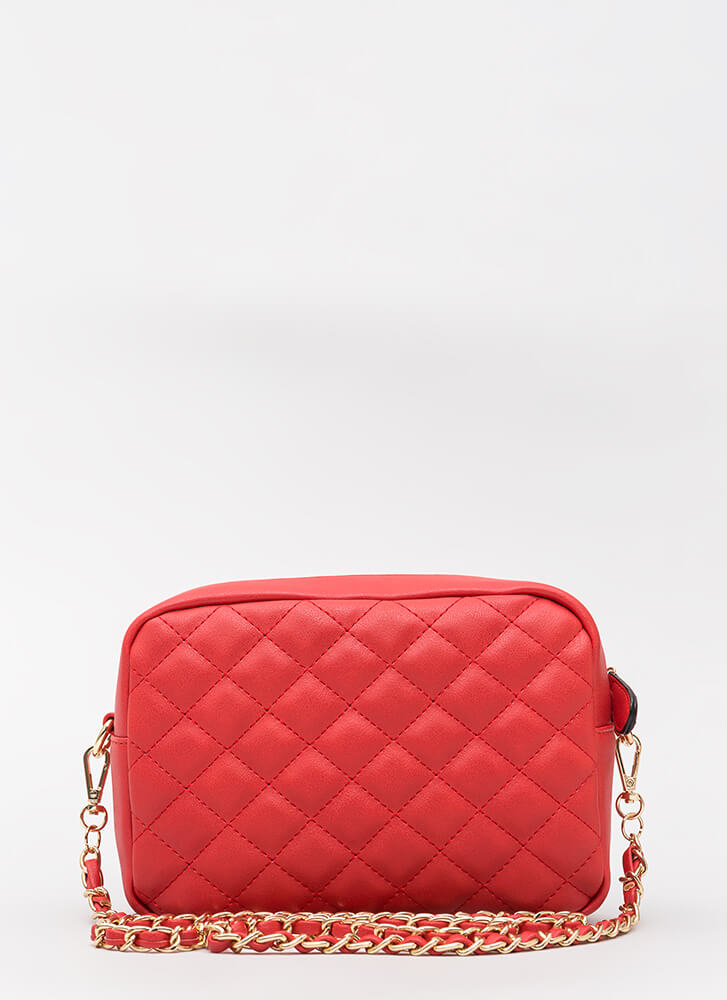 Stitch Please Quilted Chain Strap Bag RED