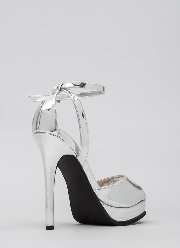 Heel Touch Strappy Metallic Platforms SILVER
