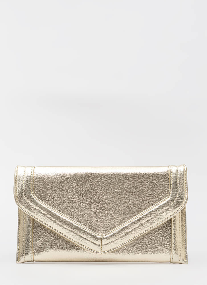 In And Out Of The Office Envelope Clutch GOLD
